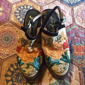 Free People Embroidered Beaded Wooden platforms 9